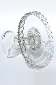 Crystal Pedestal Cake Stand Clear Glass Cake Stand Open Lace Edge Crocheted Crystal Pedestal
