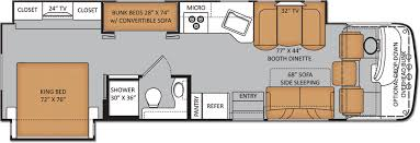 Class A Motorhome With Bunk Beds Rv Floor Plans With Bunk Beds Motorhomes With Bunk Beds 34 3