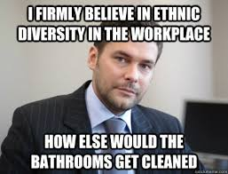Workplace Memes - i firmly believe in ethnic diversity in the workplace how else