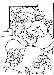 santa coloring pages for kids printable delivering gift