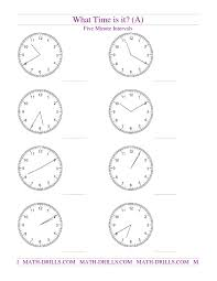telling time on analog clocks five minute intervals a