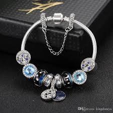 star bracelet charm images 2018 pandora s925 silver plated moon and star theme bracelets blue jpg