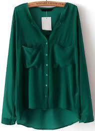 green chiffon blouse green v neck sleeve pockets chiffon blouse shein sheinside