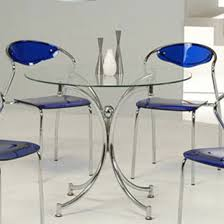 Cheap Glass Dining Room Sets Jenny Round Dining Table In Clear Glass With Chrome Legs Round