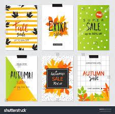set artistic creative autumn sale cards stock vector 695415790