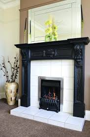 ceramic tile fireplace surround design ideas dramatic black white
