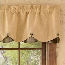 Country Curtains Country Scalloped Valance Curtains Burlap Check Black 72 X 16