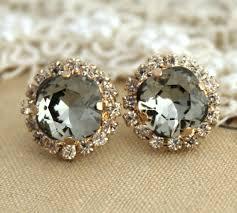 black diamond earrings studs gray stud earringsswarovski black diamond earringssmoky gray