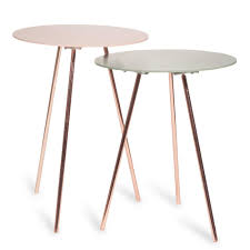 Pictures Of Tables Tocoa Set Of 2 Green And Pink Metal Nest Of Tables Maisons Du Monde