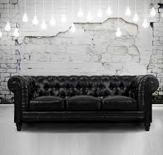 Black Leather Chesterfield Sofa Zahara Tufted Black Leather Chesterfield Sofa Zin Home