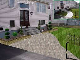 Front Yard Landscape Design by Front Yard Landscape Remodel With Plants Retaining Wall And
