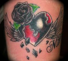 black rose and winged heart tattoo