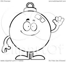 cartoon clipart of a waving christmas ornament mascot vector