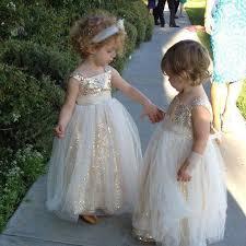 flower girl dress sweet floor length princess gold sequins flower girl dress