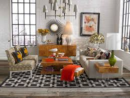 Checkered Area Rug Black And White Rustic Shabby Living Room Design In Open Plan Layout On Black