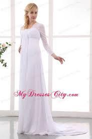 wedding dress muslimah simple empire square sleeves brush chiffon maternity wedding dress