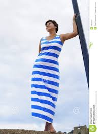 Flag Dress Woman In Greek Flag Dress Stock Image Image Of 34623761