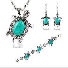 gemstone necklace sets images Women animal earring bracelet necklace sets little blue turtle jpg