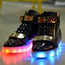 boys size 3 light up shoes men women usb charger metal flashing dancing sneaker led light up