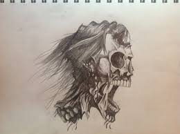drawn sugar skull zombie pencil and in color drawn sugar skull