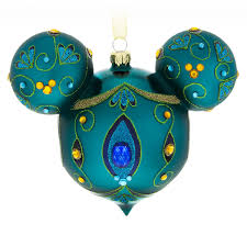 mickey mouse icon glass ornament peacock shopdisney