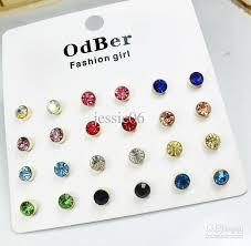 2017 fashion girl earrings stud sets odber diamond gem