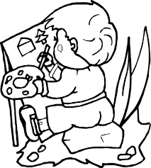 child painting activity coloring page wecoloringpage