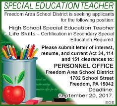 Monster Jobs Resume by Special Education Teacher Job At Freedom Area Dist