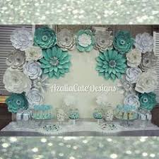 Tiffany Color Party Decorations Gorgeous Paper Flower Backdrop At A Tiffany U0026 Co Quinceañera Party