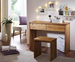 Schreibtisch Massiv Schreibtisch Mit Hocker Wildeiche Geölt Konsolentisch Schminktisch
