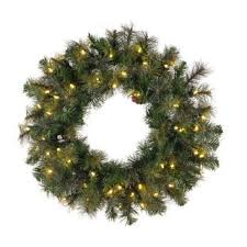30 inch modesto mixed pine wreath with 50 warm white led lights