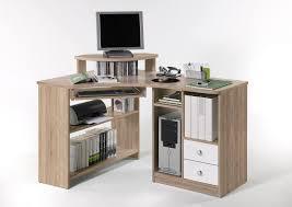 Pc Schreibtisch Mit Aufsatz Eckschreibtisch Eiche Sonoma Weiss Mit Tastaturauszug