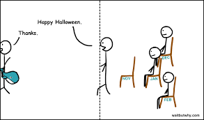 happy halloween with no background doing a ted talk the full story wait but why