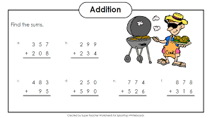 three digit addition no regrouping mixed number fractions worksheet