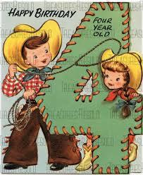 cowboy cowgirl 4 year old birthday card 5 digital download