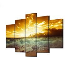 the tides and sunset seascape paintings for home decor canvas
