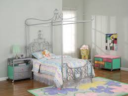 elegant silver metal canopy princess bed with grey bedside table