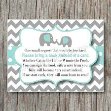 baby shower instead of a card bring a book elephant book instead of card request invitation insert for baby