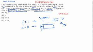 data structure exle 1 013 gate cs 2006 binary tree storage in