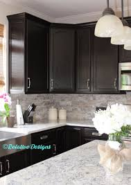 Kitchens With Stone Backsplash Arabesque Selene Tile Backsplash With Espresso Cabinets And