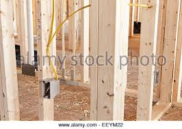 new electrical wiring in a house renovation project stock photo