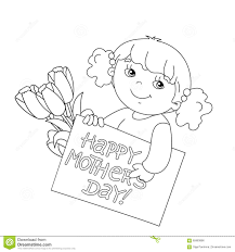 coloring page outline of with card for mother u0027s day stock