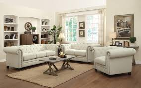 Tufted Living Room Set Coaster Roy Traditional Button Tufted Sofa With Rolled Back And