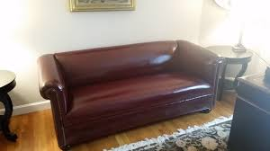 reupholstered sofa in real leather landry home decorating