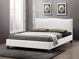 Full Size White Headboards by Baxton Studio Battersby White Modern Bed With Upholstered