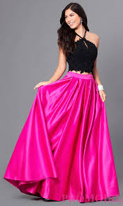 two tone high neck two piece prom dress promgirl