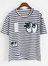 eye pattern clothes with sequined eye pattern striped t shirt women s tees