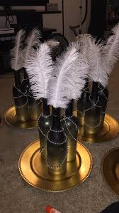 Centerpiece With Feathers by Great Gatsby Inspired Centerpiece Wine Bottles With Ombre Color