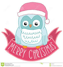 owl christmas christmas owl in santa hat with ribbon royalty free stock image