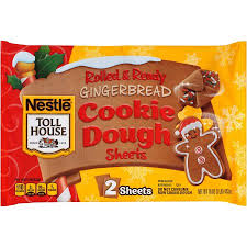 nestle toll house gingerbread cookie dough sheets 2 count 16 oz